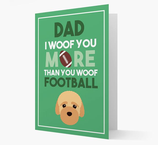 'Woof you more than you woof Football' Card with Bich-poo Icon