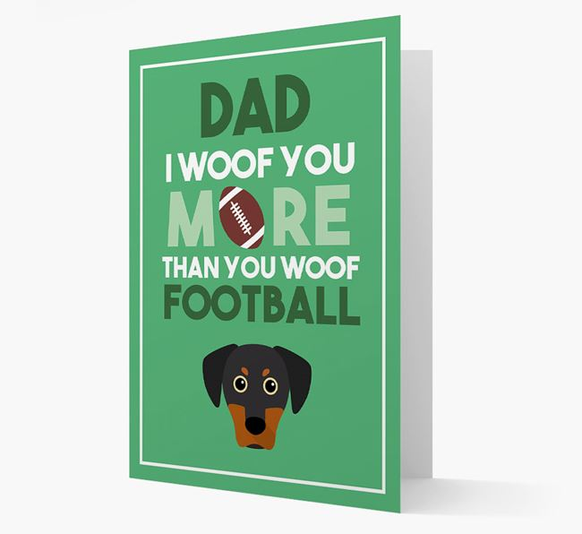 'Woof you more than you woof Football' Card with Blue Lacy Icon