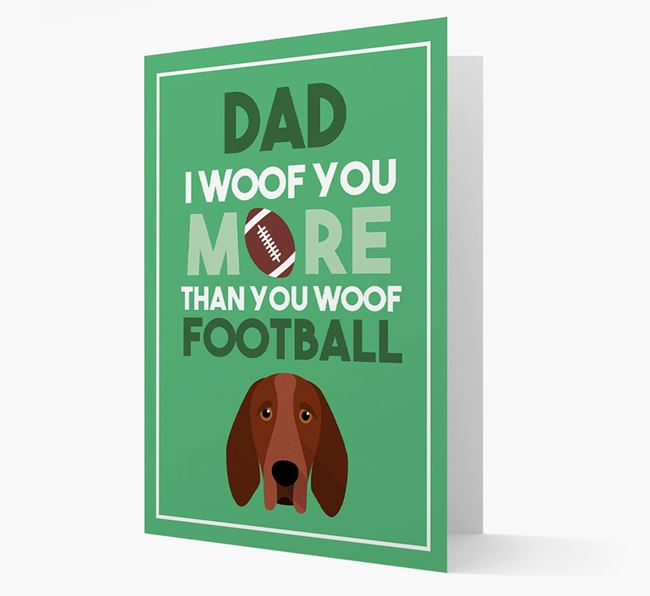 'Woof you more than you woof Football' Card with Bracco Italiano Icon