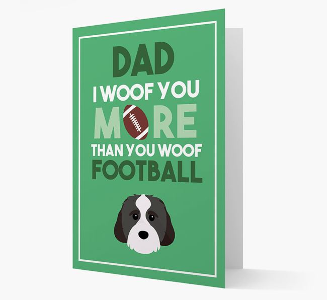 'Woof you more than you woof Football' Card with Cavachon Icon