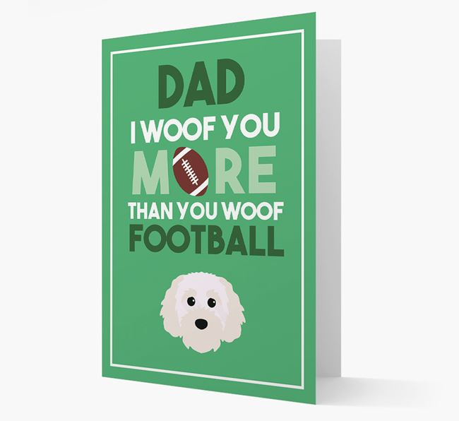 'Woof you more than you woof Football' Card with Cavapoochon Icon