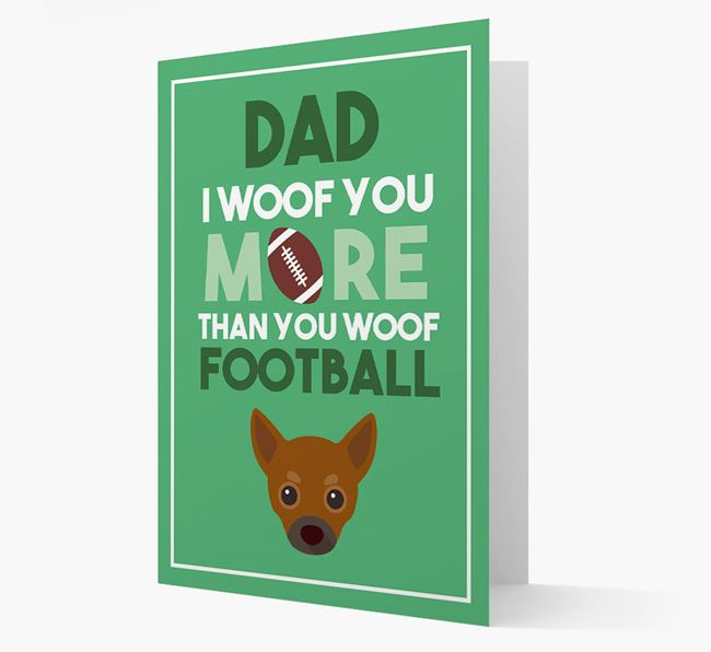 'Woof you more than you woof Football' Card with Chihuahua Icon