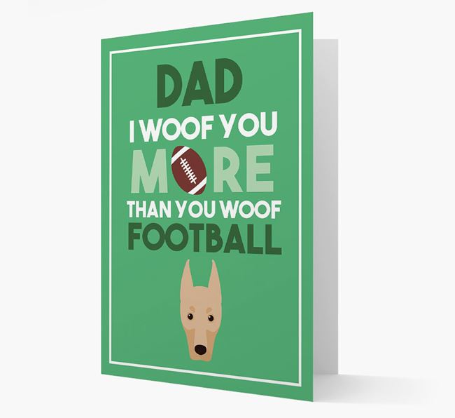 'Woof you more than you woof Football' Card with Dobermann Icon