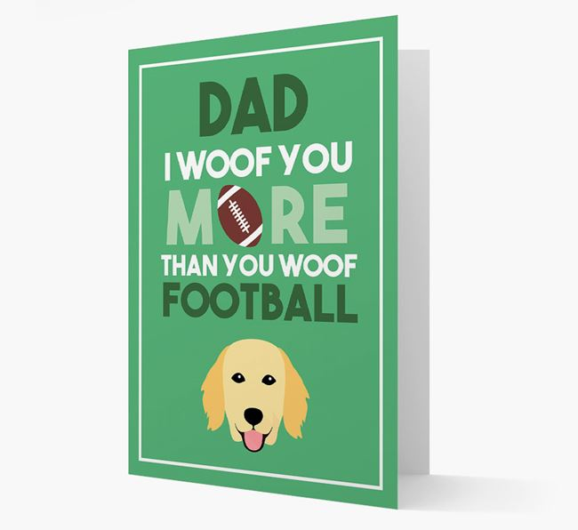 'Woof you more than you woof Football' Card with Flat-Coated Retriever Icon