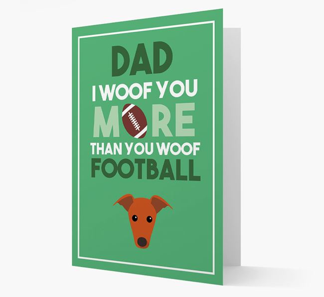 'Woof you more than you woof Football' Card with Greyhound Icon