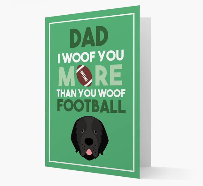 'Woof you more than you woof Football' Card with Newfoundland Icon
