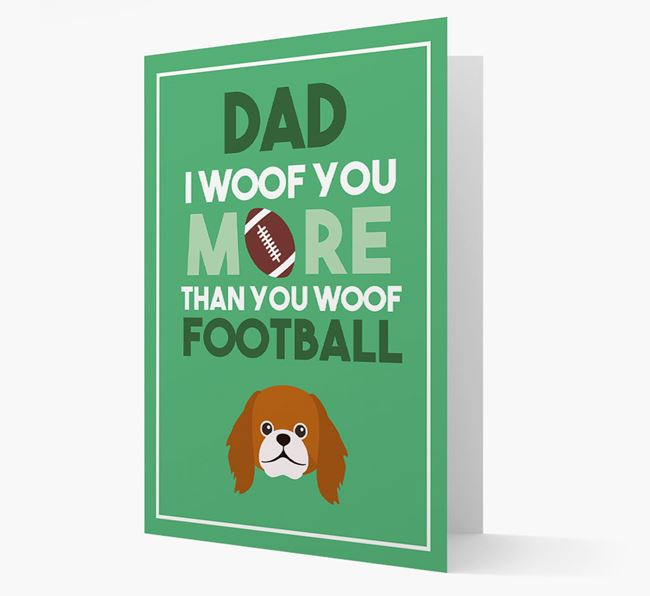 'Woof you more than you woof Football' Card with Pekingese Icon