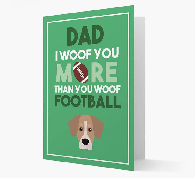 'Woof you more than you woof Football' Card with Siberian Cocker Icon