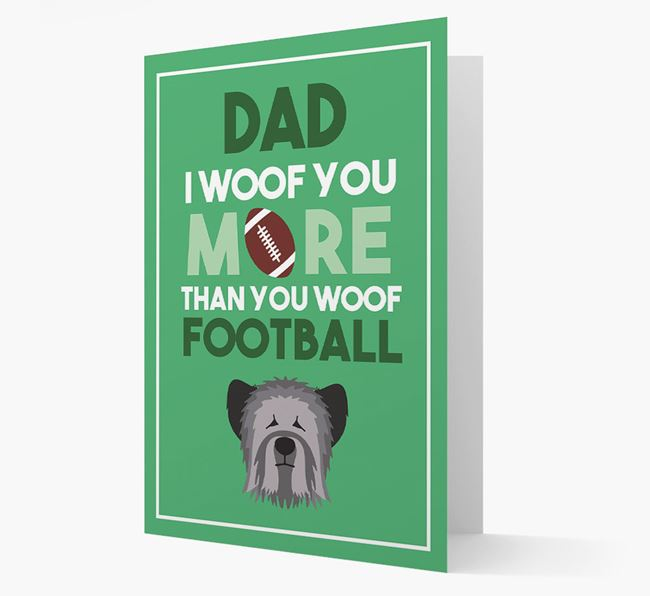 'Woof you more than you woof Football' Card with Skye Terrier Icon