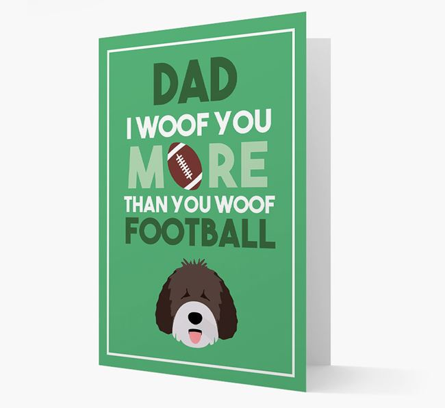 'Woof you more than you woof Football' Card with Spanish Water Dog Icon
