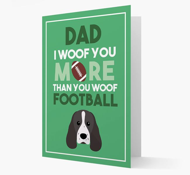 'Woof you more than you woof Football' Card with Sprocker Icon