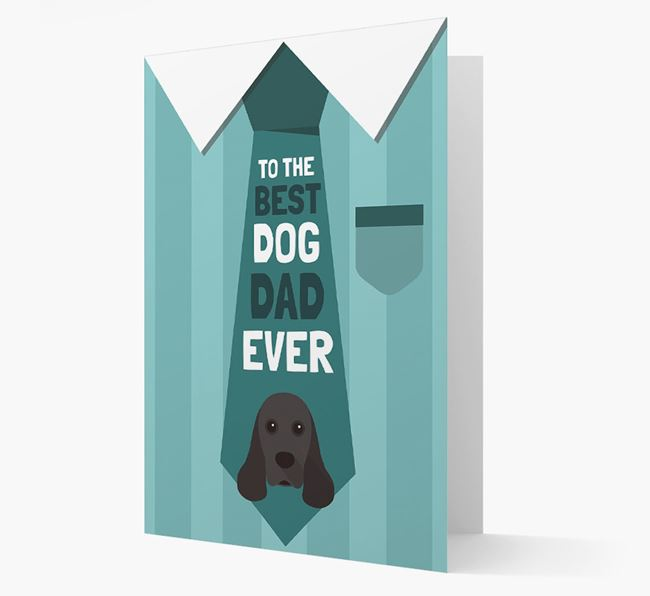 'Best Dog Dad Ever' Suit and Tie Card with American Cocker Spaniel Icon