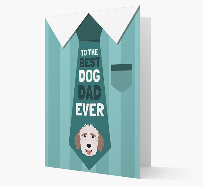 'Best Dog Dad Ever' Suit and Tie Card with Aussiedoodle Icon