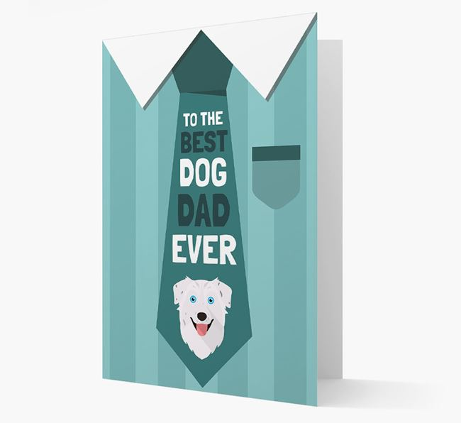 'Best Dog Dad Ever' Suit and Tie Card with Australian Shepherd Icon