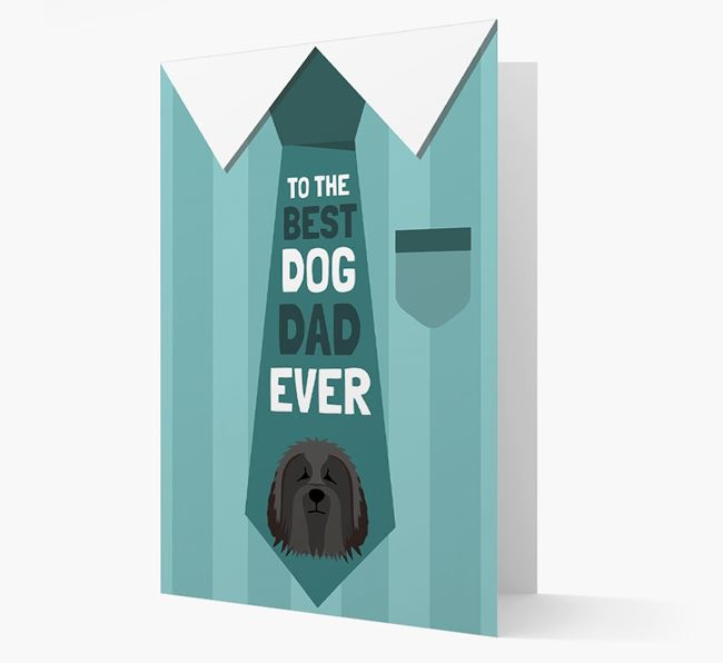 'Best Dog Dad Ever' Suit and Tie Card with Bearded Collie Icon
