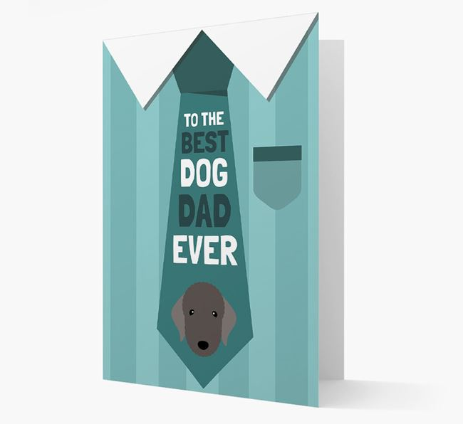 'Best Dog Dad Ever' Suit and Tie Card with Bedlington Terrier Icon