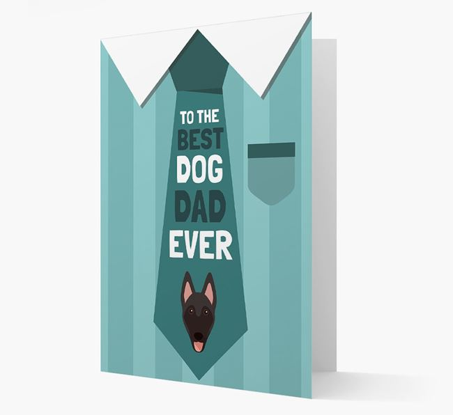 'Best Dog Dad Ever' Suit and Tie Card with Belgian Malinois Icon