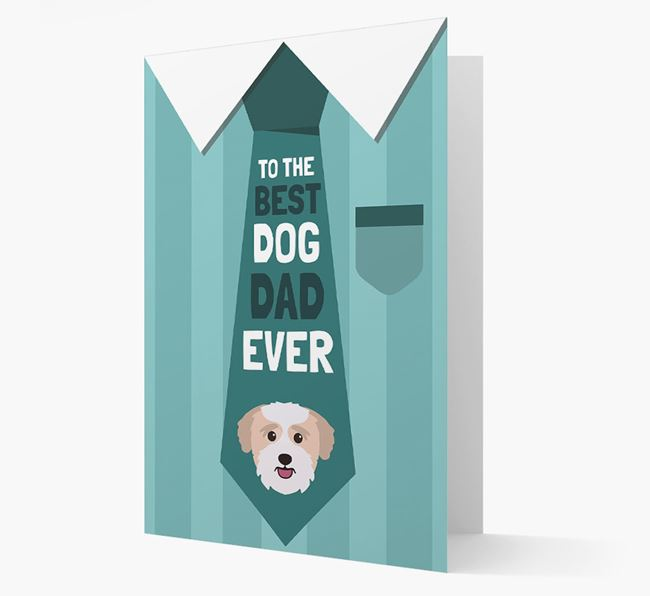 'Best Dog Dad Ever' Suit and Tie Card with Bichon Yorkie Icon