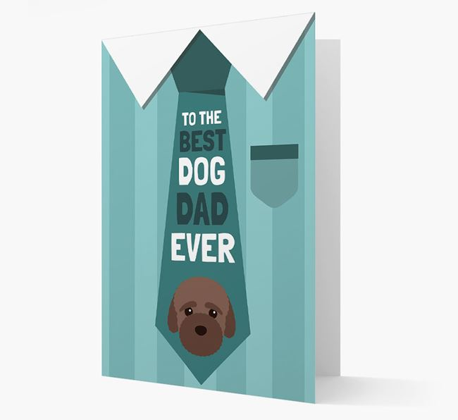 'Best Dog Dad Ever' Suit and Tie Card with Bich-poo Icon