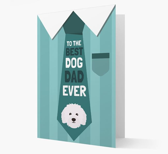 'Best Dog Dad Ever' Suit and Tie Card with Bolognese Icon