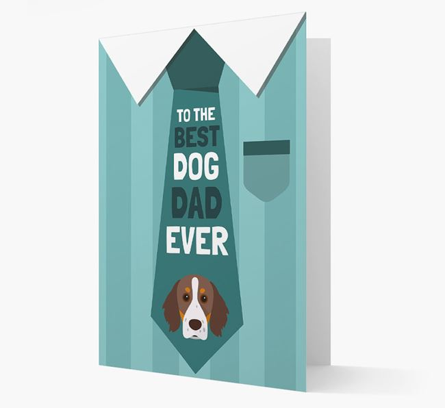'Best Dog Dad Ever' Suit and Tie Card with Brittany Icon