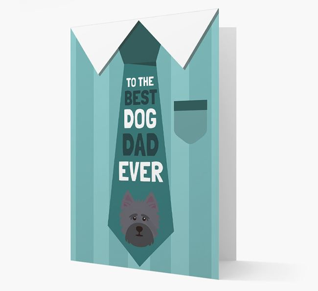 'Best Dog Dad Ever' Suit and Tie Card with Cairn Terrier Icon