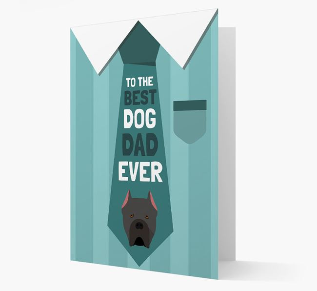 'Best Dog Dad Ever' Suit and Tie Card with Cane Corso Italiano Icon