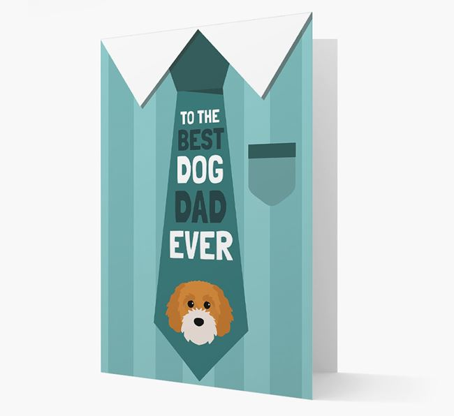 'Best Dog Dad Ever' Suit and Tie Card with Cavapoochon Icon
