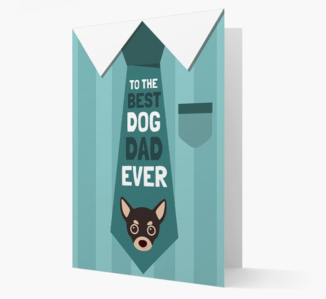'Best Dog Dad Ever' Suit and Tie Card with Chihuahua Icon