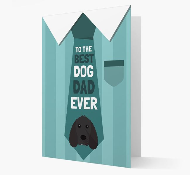 'Best Dog Dad Ever' Suit and Tie Card with Cocker Spaniel Icon