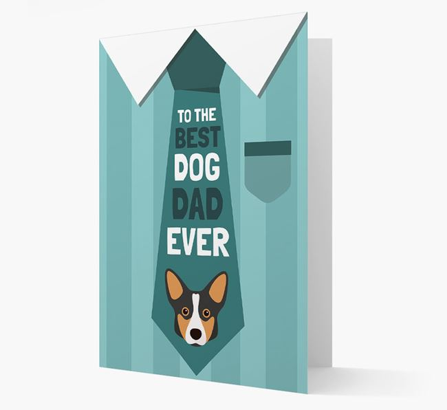 'Best Dog Dad Ever' Suit and Tie Card with Corgi Icon