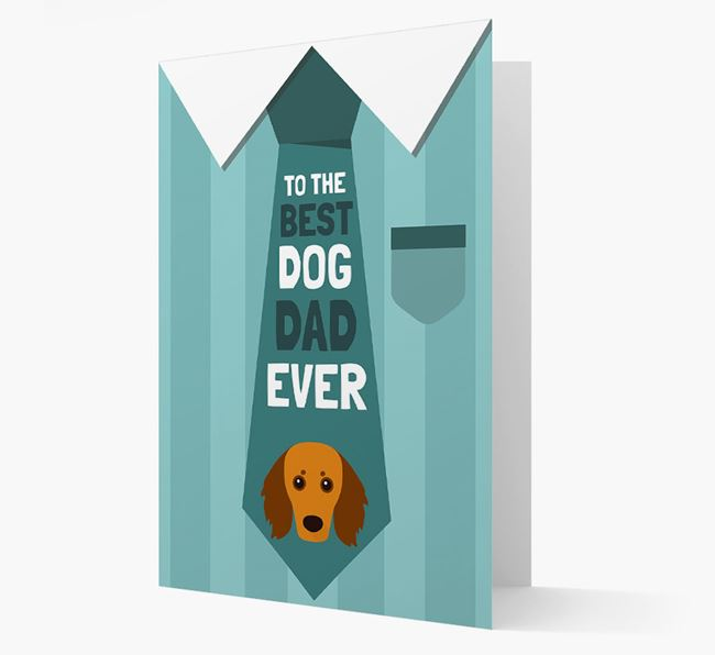 'Best Dog Dad Ever' Suit and Tie Card with Doxiepoo Icon