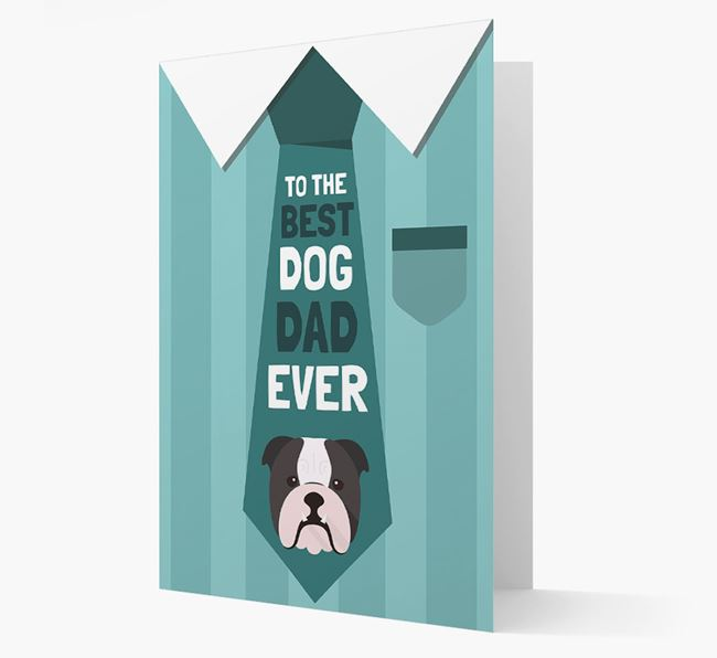 'Best Dog Dad Ever' Suit and Tie Card with English Bulldog Icon