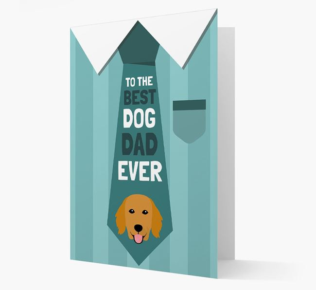 'Best Dog Dad Ever' Suit and Tie Card with Flat-Coated Retriever Icon