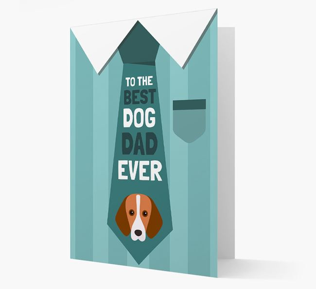 'Best Dog Dad Ever' Suit and Tie Card with Foxhound Icon
