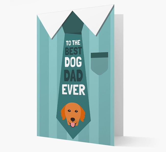 'Best Dog Dad Ever' Suit and Tie Card with Golden Retriever Icon