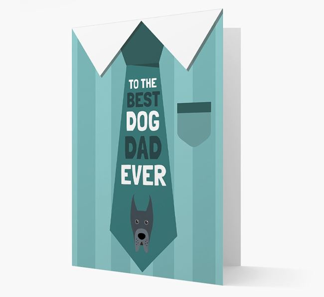 'Best Dog Dad Ever' Suit and Tie Card with Great Dane Icon