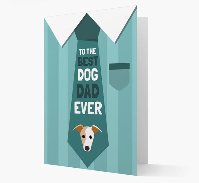 'Best Dog Dad Ever' Suit and Tie Card with Greyhound Icon