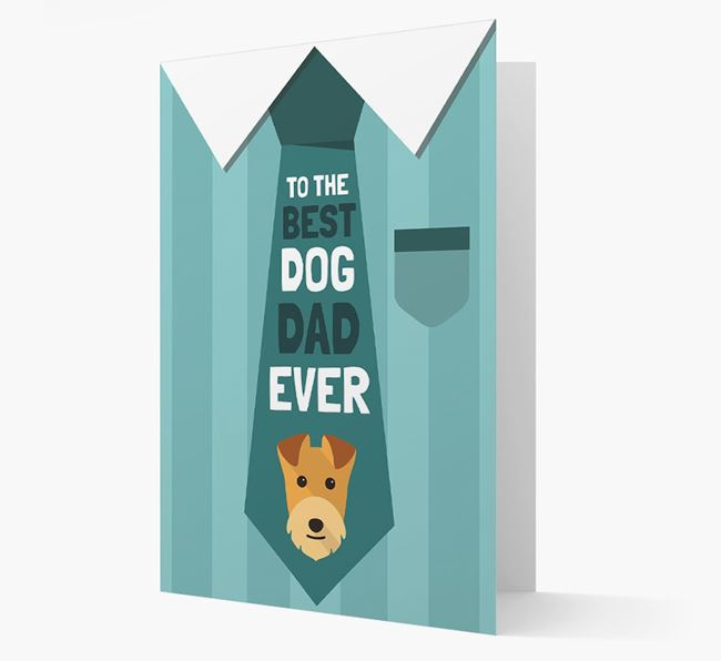 'Best Dog Dad Ever' Suit and Tie Card with Lakeland Terrier Icon