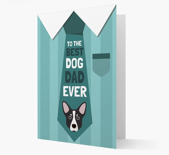 'Best Dog Dad Ever' Suit and Tie Card with Mixed Breed Icon