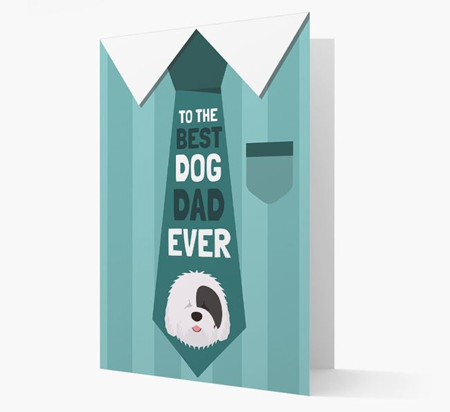 'Best Dog Dad Ever' Suit and Tie Card with Old English Sheepdog Icon