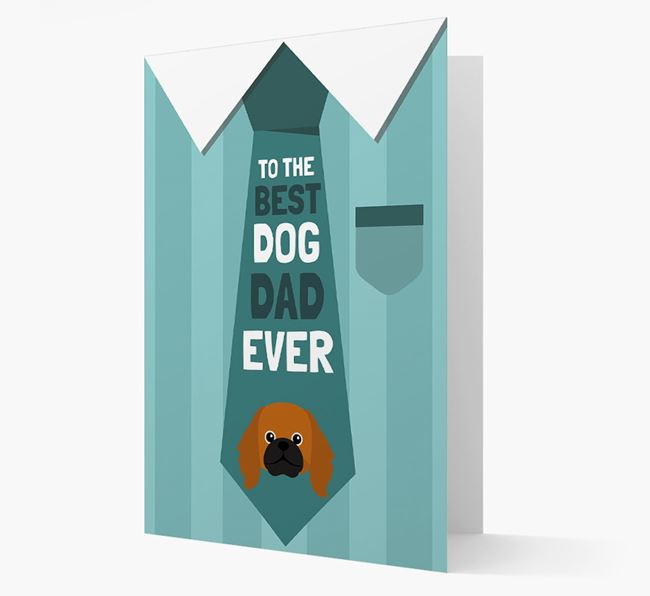 'Best Dog Dad Ever' Suit and Tie Card with Pekingese Icon