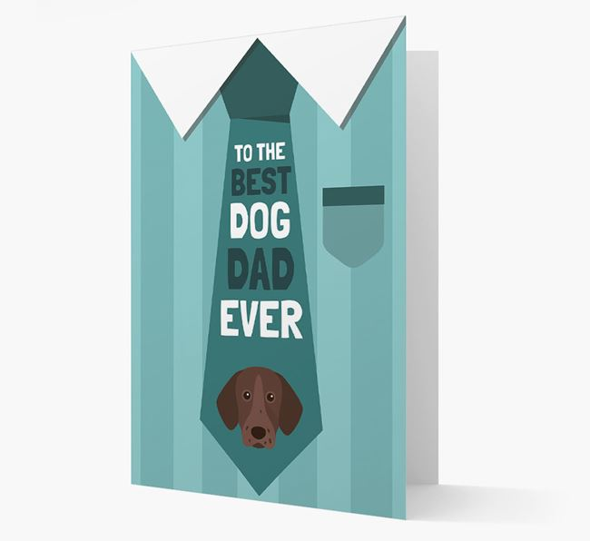 'Best Dog Dad Ever' Suit and Tie Card with Pointer Icon