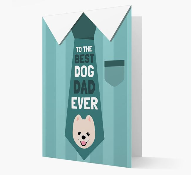 'Best Dog Dad Ever' Suit and Tie Card with Pomeranian Icon