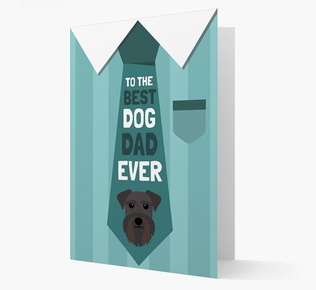 'Best Dog Dad Ever' Suit and Tie Card with Schnauzer Icon