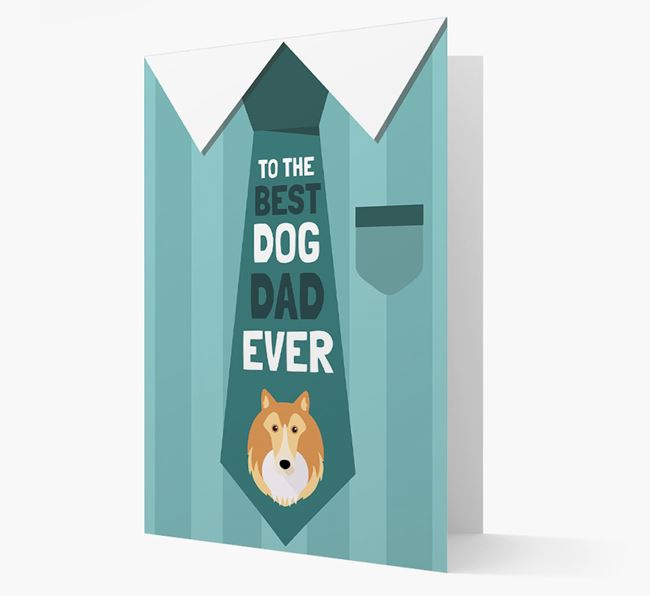 'Best Dog Dad Ever' Suit and Tie Card with Shetland Sheepdog Icon