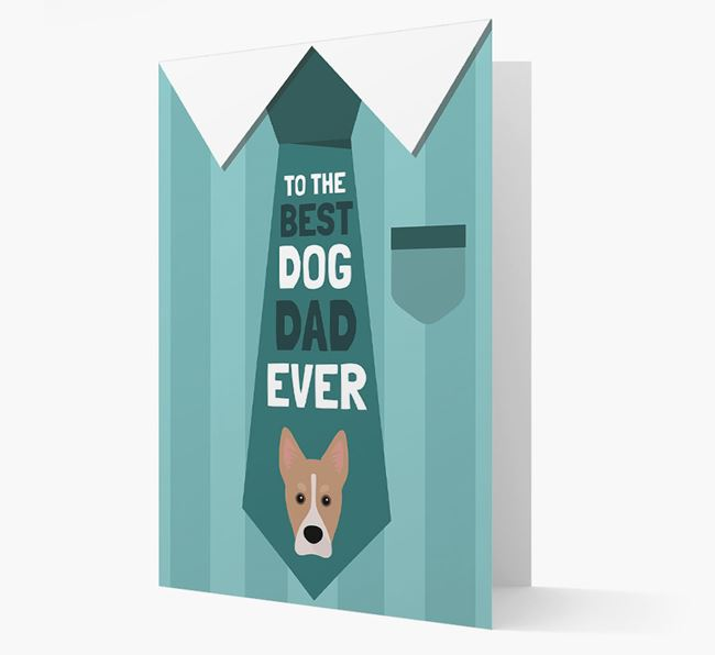 'Best Dog Dad Ever' Suit and Tie Card with Siberian Cocker Icon
