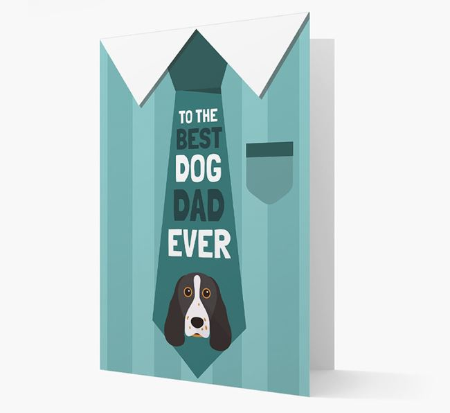 'Best Dog Dad Ever' Suit and Tie Card with Springer Spaniel Icon