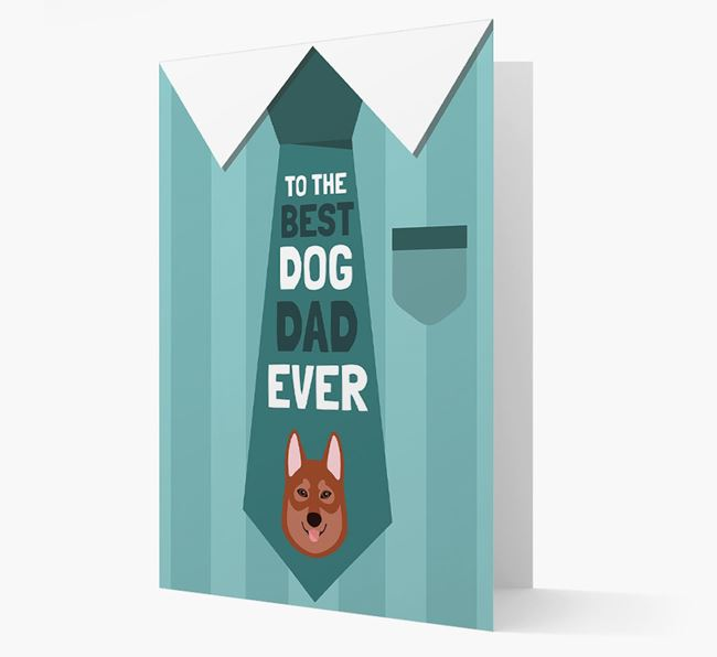 'Best Dog Dad Ever' Suit and Tie Card with Tamaskan Icon