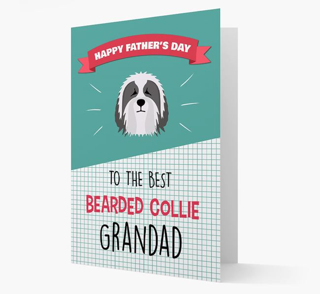 'Best Bearded Collie Grandad' Card with Bearded Collie Icon